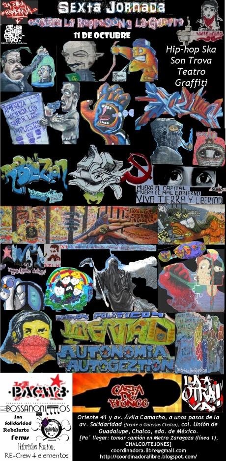 Cartel Sexta Jornada de Murales contra la Represión y la Guerra-Graffiti-Resistencia-calle-La otra campaña