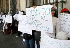 Sexoservidoras durante una manifestación en Jalisco